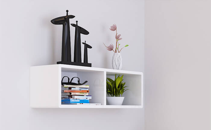 Por White Color Wall Mounted Cube Shelf Cs016 Welcome