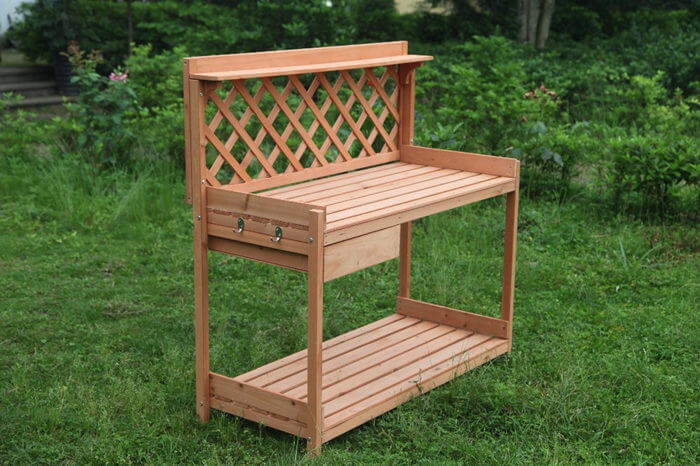 Terrific Outdoor Garden Wood Potting Bench Planting Work Station Andrewgaddart Wooden Chair Designs For Living Room Andrewgaddartcom