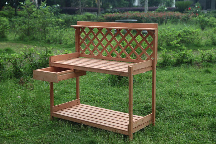 Sensational Outdoor Garden Wood Potting Bench Planting Work Station Andrewgaddart Wooden Chair Designs For Living Room Andrewgaddartcom