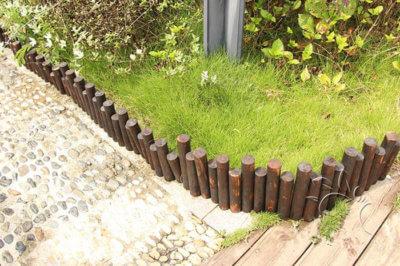 Garden Teak Wood Uneven Solid Log Edging Wood Border Log