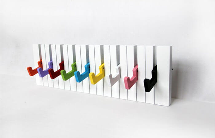 Decorative Rainbow Piano Design Wall Mounted Coat Hanger