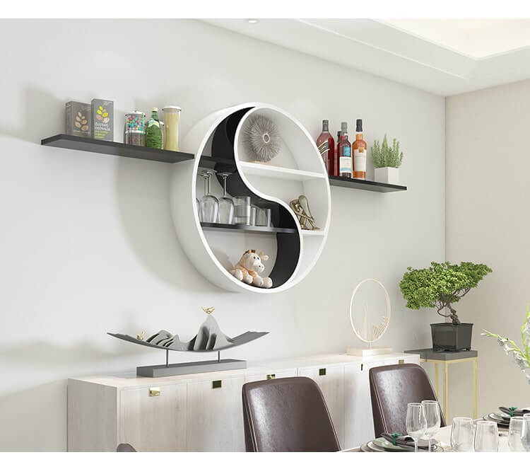 White And Black Wall Mounted Round Cube, Round Wall Shelf Decor Ideas
