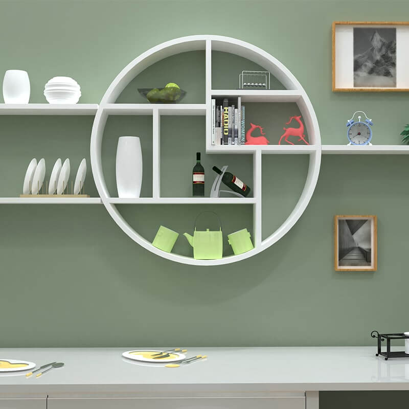 Modern Round Wall Shelf Decoration, Round Wall Decor With Shelves