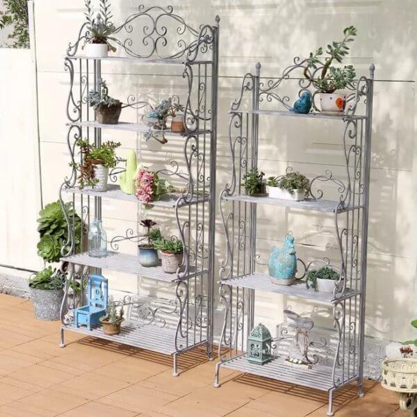 Plant Flower Shelf Display Storage Rack Pots Desktop Organizer Garden Wooden